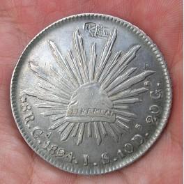 MÉXICO 8 REALES 1894 GUADALAJARA -Resellos chinos-
