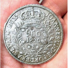 BRASIL 960 REIS 1820 BAHÍA (sobre 8 reales)